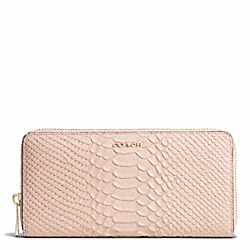 COACH MADISON PYTHON EMBOSSED ACCORDION ZIP WALLET - LIGHT GOLD/BLUSH - F51149