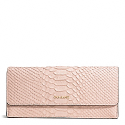 COACH MADISON PYTHON EMBOSSED SOFT WALLET - LIGHT GOLD/BLUSH - F51151