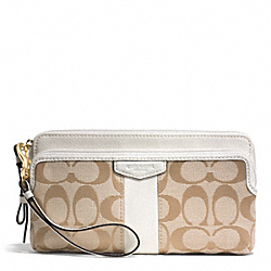 SIGNATURE STRIPE 12CM DOUBLE ZIP WALLET - f51155 - BRASS/LIGHT KHAKI/IVORY