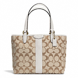 SIGNATURE STRIPE TOP HANDLE TOTE - f51156 - BRASS/LIGHT KHAKI/IVORY