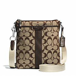 SIGNATURE STRIPE NORTH/SOUTH SWINGPACK - SILVER/KHAKI/MAHOGANY - COACH F51157