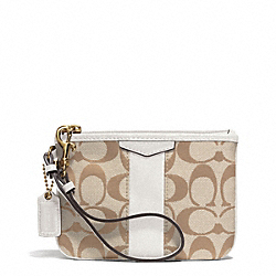 SIGNATURE STRIPE SMALL WRISTLET - f51158 - BRASS/LIGHT KHAKI/IVORY