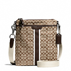 SIGNATURE STRIPE 6CM NORTH/SOUTH SWINGPACK - SILVER/KHAKI/MAHOGANY - COACH F51163
