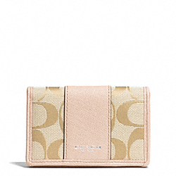 COACH SIGNATURE BUSINESS CARD CASE - SILVER/LT KHAKI/PEACH ROSE - F51166