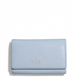 COACH BLEECKER LEATHER 6-RING KEY CASE - SILVER/POWDER BLUE - F51167