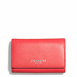 COACH BLEECKER LEATHER 6-RING KEY CASE - SILVER/LOVE RED - F51167