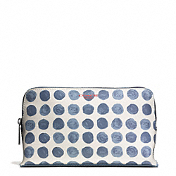 COACH BLEECKER PAINTED DOT COATED CANVAS MEDIUM COSMETIC CASE - SILVER/BLUE MULTI - F51170