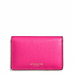 COACH SAFFIANO LEATHER BUSINESS CARD CASE - LIGHT GOLD/PINK RUBY - F51171