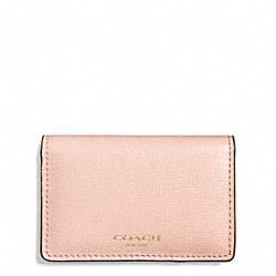 COACH SAFFIANO LEATHER BUSINESS CARD CASE - LIGHT GOLD/PEACH ROSE - F51171