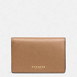 COACH BUSINESS CARD CASE IN SAFFIANO LEATHER - LIGHT GOLD/BRINDLE - F51171