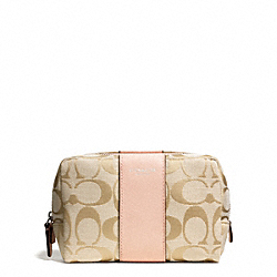 COACH SIGNATURE SQUARE MEDIUM COSMETIC CASE - SILVER/LT KHAKI/PEACH ROSE - F51172