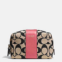 COACH MEDIUM COSMETIC CASE IN SIGNATURE PRINT FABRIC - GOLD/LT KHA BLK/LOGANBERRY - F51173