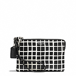 COACH BLEECKER BLACK AND WHITE PRINT COATED CANVAS SMALL WRISTLET - SILVER/BLACK/WHITE - F51174