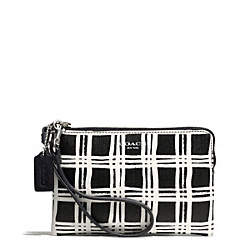 COACH BLEECKER BLACK AND WHITE PRINT COATED CANVAS SMALL WRISTLET - SILVER/BLACK MULTI - F51174