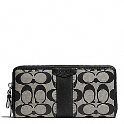 COACH SIGNATURE STRIPE 12CM ACCORDION ZIP - SILVER/BLACK/WHITE/BLACK - F51177