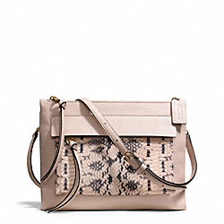 COACH MADISON TWO-TONE PYTHON EMBOSSED LEATHER FELICIA CROSSBODY - LIGHT GOLD/BLUSH - F51192