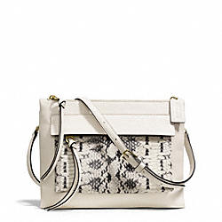 COACH MADISON TWO TONE PYTHON EMBOSSED LEATHER FELICIA CROSSBODY - LIGHT GOLD/PARCHMENT - F51192