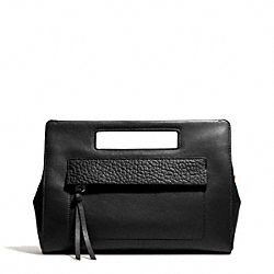 COACH BLEECKER LEATHER  POCKET CLUTCH - SILVER/BLACK - F51194