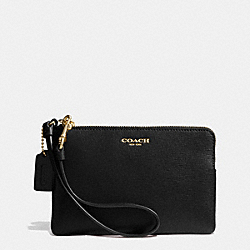 COACH SAFFIANO SMALL WRISTLET IN LEATHER - BRASS/BLACK - F51197