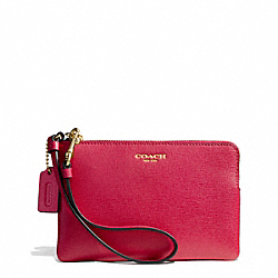 COACH SAFFIANO LEATHER SMALL WRISTLET - LIGHT GOLD/PINK SCARLET - F51197