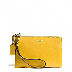 COACH SAFFIANO LEATHER SMALL WRISTLET - LIGHT GOLD/SUNGLOW - F51197