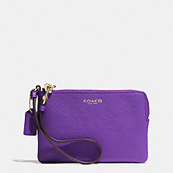 COACH SAFFIANO SMALL WRISTLET IN LEATHER - LIGHT GOLD/PURPLE IRIS - F51197