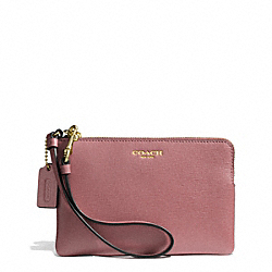 SAFFIANO LEATHER SMALL WRISTLET - LIGHT GOLD/ROUGE - COACH F51197