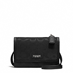 COACH AVERY SIGNATURE LEATHER PHONE CROSSBODY - SILVER/BLACK/BLACK - F51214