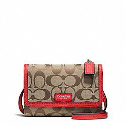 COACH AVERY SIGNATURE PHONE CROSSBODY - SILVER/KHAKI/VERMILLION - F51214