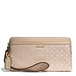 COACH MADISON OP ART PEARLESCENT DOUBLE ZIP WALLET - LIGHT GOLD/PEACH ROSE - F51221