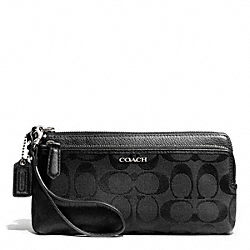 COACH MADISON DOUBLE ZIP WALLET IN SIGNATURE FABRIC - SILVER/BLACK/BLACK - F51223