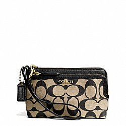 COACH F51228 - MADISON DOUBLE ZIP WRISTLET IN SIGNATURE FABRIC  LIGHT GOLD/KHAKI BLACK