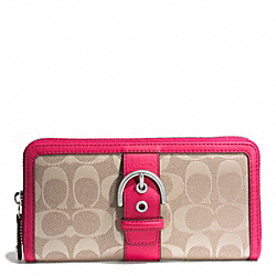 COACH CAMPBELL SIGNATURE TWILL ACCORDION ZIP WALLET - SILVER/KHAKI/POMEGRANATE - F51232