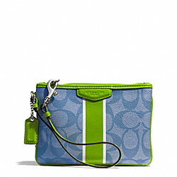COACH SIGNATURE STRIPE COATED CANVAS SMALL WRISTLET - SILVER/BLUE/GREEN - F51233