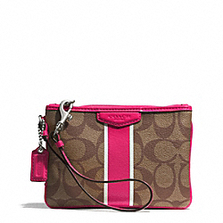 COACH SIGNATURE STRIPE COATED CANVAS SMALL WRISTLET - SILVER/KHAKI/POMEGRANATE - F51233