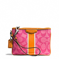 COACH SIGNATURE STRIPE COATED CANVAS SMALL WRISTLET - SILVER/PINK/ORANGE - F51233