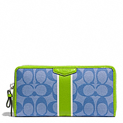 COACH SIGNATURE STRIPE ACCORDION ZIP WALLET - SILVER/BLUE/GREEN - F51234