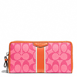 COACH SIGNATURE STRIPE ACCORDION ZIP WALLET - SILVER/PINK/ORANGE - F51234