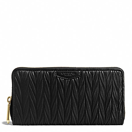 COACH GATHERED LEATHER ACCORDION ZIP WALLET - BRASS/BLACK - f51236