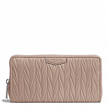 COACH GATHERED LEATHER ACCORDION ZIP WALLET - SILVER/PUTTY - f51236
