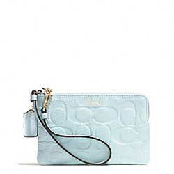 BLEECKER LOGO EMBOSSED SMALL WRISTLET - f51244 - GOLD/SEA MIST