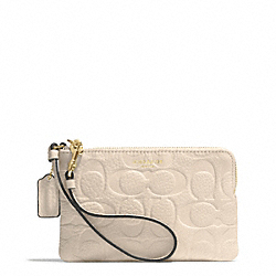 COACH BLEECKER LOGO EMBOSSED SMALL WRISTLET - GOLD/ECRU - F51244
