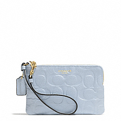 BLEECKER LOGO EMBOSSED SMALL WRISTLET - f51244 - GOLD/POWDER BLUE