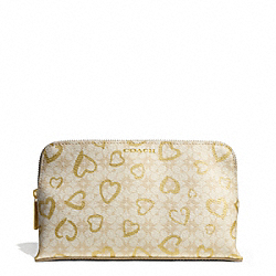 COACH WAVERLY HEART PRINT COATED CANVAS MEDIUM COSMETIC CASE - IVORY/LIGHT KHAKI/GOLD - F51245