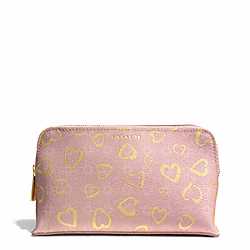 COACH WAVERLY HEART PRINT COATED CANVAS MEDIUM COSMETIC CASE - LIGHT GOLD/LIGHT GOLDGHT PINK - F51245