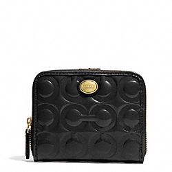COACH PEYTON OP ART EMBOSSED PATENT MEDIUM ZIP AROUND WALLET - BRASS/BLACK - F51249