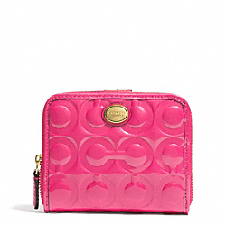 COACH PEYTON OP ART EMBOSSED PATENT MEDIUM ZIP AROUND WALLET - ONE COLOR - F51249