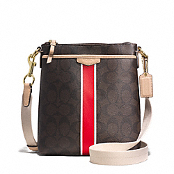 COACH SIGNATURE STRIPE SWINGPACK - BRASS/BROWN/VERMILLION - F51265
