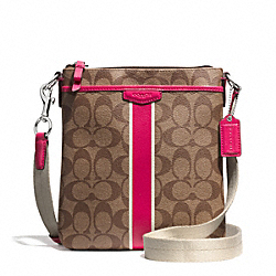 SIGNATURE STRIPE SWINGPACK - SILVER/KHAKI/POMEGRANATE - COACH F51265