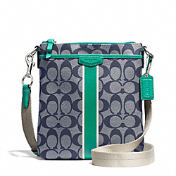 COACH SIGNATURE STRIPE SWINGPACK - SILVER/NAVY/BRIGHT JADE - F51265